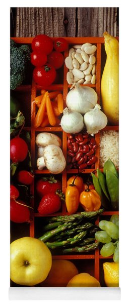 Fruits And Vegetables In Compartments Yoga Mat