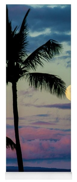 Full Moon And Palm Trees Yoga Mat