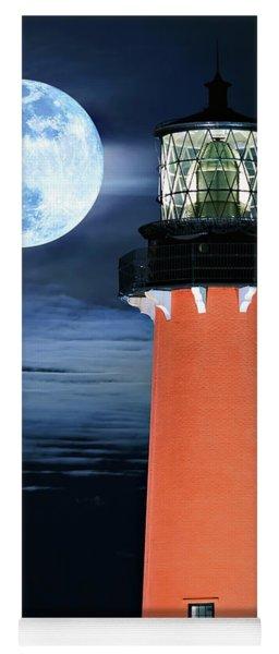 Full Moon Closeup Next To Jupiter Lighthouse In Florida Yoga Mat