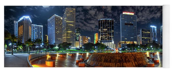 Full Moon Over Bayfront Park In Downtown Miami Yoga Mat