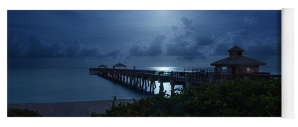 Full Moon Over Juno Beach Pier Yoga Mat