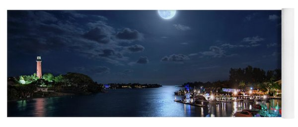 Full Moon Over Jupiter Lighthouse And Inlet In Florida Yoga Mat