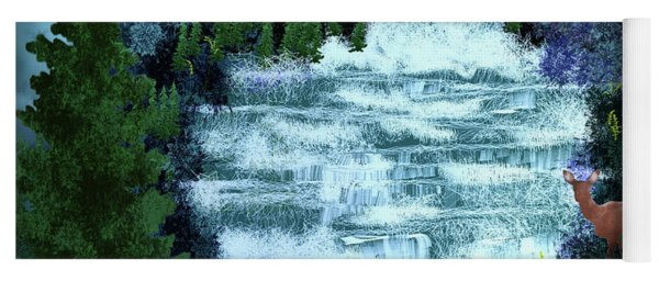 Full Moon Over The Waterfall Yoga Mat
