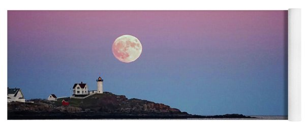 Full Moon Rising At Nubble Light Yoga Mat