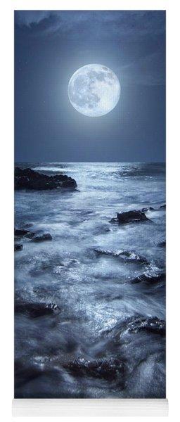 Full Moon Rising Over Coral Cove Beach In Jupiter, Florida Yoga Mat