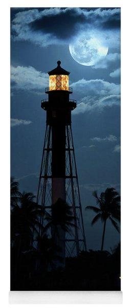 Full Moon Rising Over Hillsboro Lighthouse In Pompano Beach Florida Yoga Mat