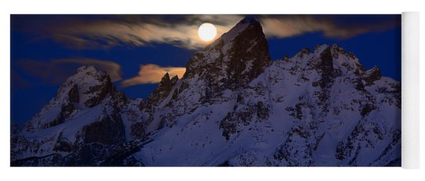Full Moon Sets Over The Grand Teton Yoga Mat