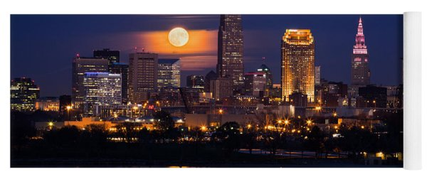 Full Moonrise Over Cleveland Yoga Mat