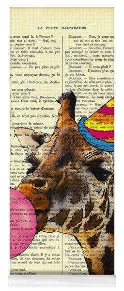 Funny Giraffe, Dictionary Art Yoga Mat