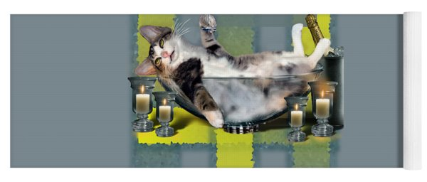 Funny Pet Print With A Tipsy Kitty  Yoga Mat