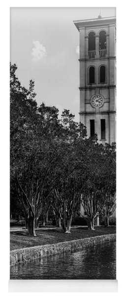 Furman University Bell Tower Greenville South Carolina Black And White Yoga Mat