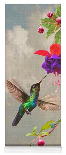 Fuchsia And Hummingbird Yoga Mat