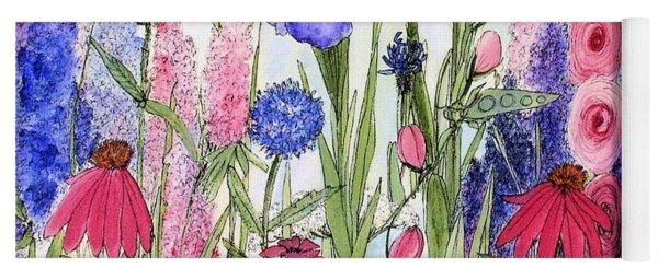 Garden Cottage Iris And Hollyhock Yoga Mat