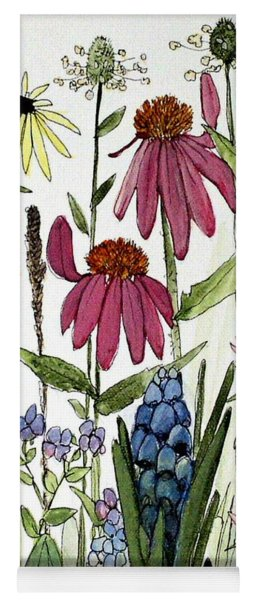 Garden Flowers With Bees Yoga Mat
