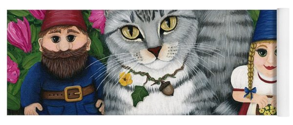 Garden Friends - Tabby Cat And Gnomes Yoga Mat