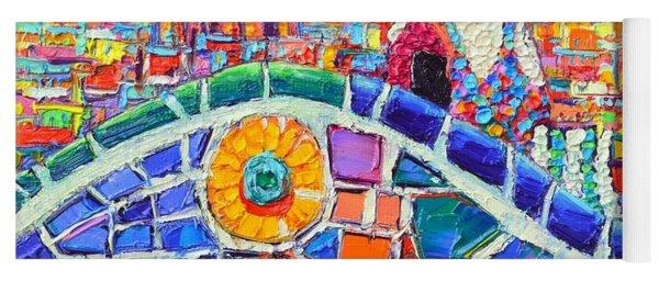 Gaudi's Sunflower Mosaic Barcelona Park Guell Textural Impasto Knife Oil Painting Ana Maria Edulescu Yoga Mat