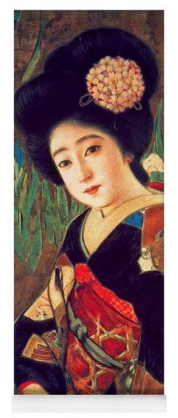 Geisha Portrait - 1912 Japanese Beer Promotion Painting Yoga Mat
