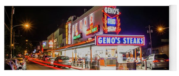 Yoga Mat featuring the photograph Genos Steaks - South Philly by Bill Cannon
