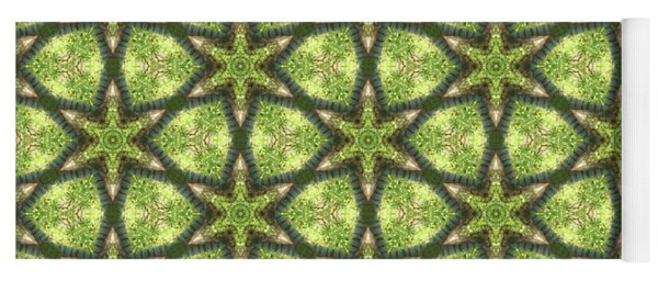 Geo Stars In Greens Yoga Mat