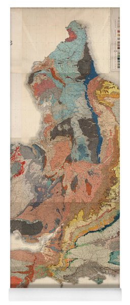 Geological Map Of England And Wales - Historical Relief Map - Antique Map - Historical Atlas Yoga Mat