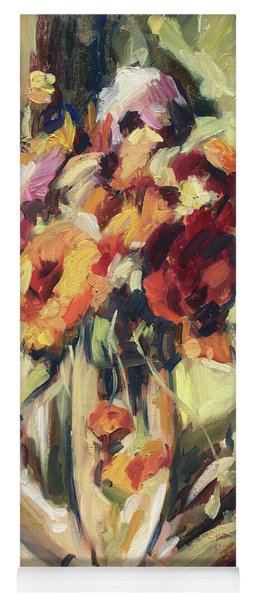 Gerberas In Glass Vase Yoga Mat