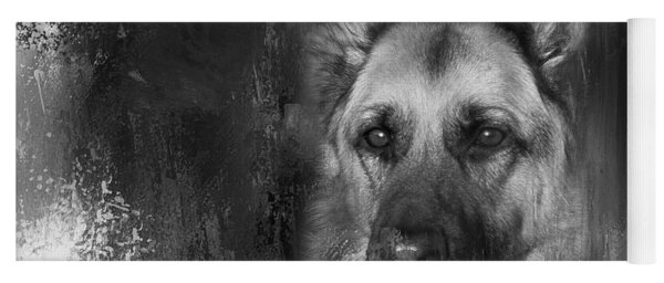 German Shepherd In Black And White Yoga Mat