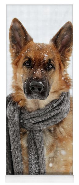 German Shepherd Wearing Scarf In Snow Yoga Mat