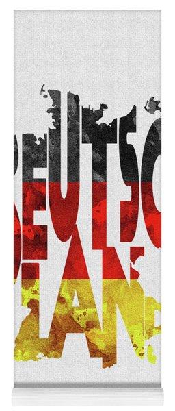 Germany Typographic Map Flag Yoga Mat