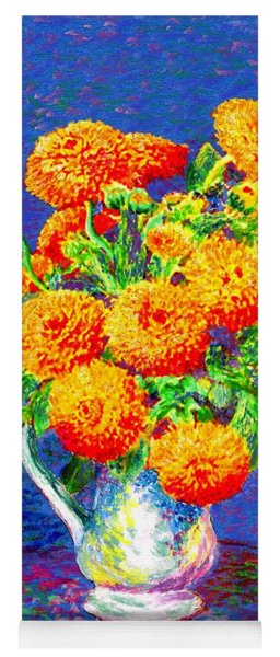 Gift Of Gold, Orange Flowers Yoga Mat