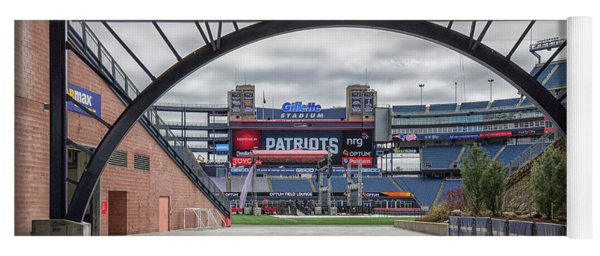 Gillette Stadium And The Four Super Bowl Banners Yoga Mat