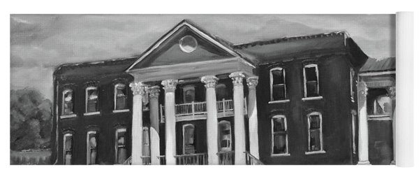 Yoga Mat featuring the painting Gilmer County Old Courthouse - Black And White by Jan Dappen