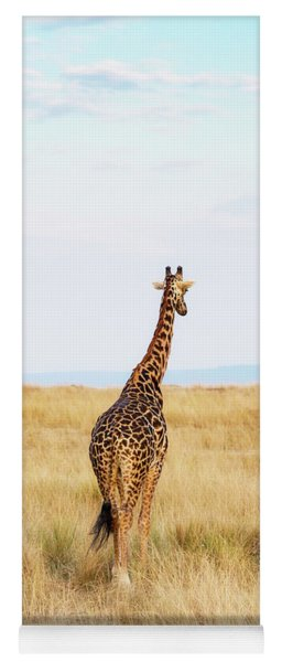 Giraffe Walking In Kenya Africa - Vertical Yoga Mat