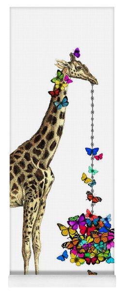 Giraffe With Colorful Rainbow Butterflies Yoga Mat