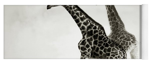 Giraffes Fleeing Yoga Mat