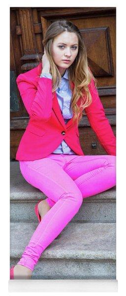 Girl Dressing In Pink Yoga Mat