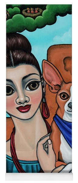 Girl Holding Chihuahua Art Dog Painting  Yoga Mat