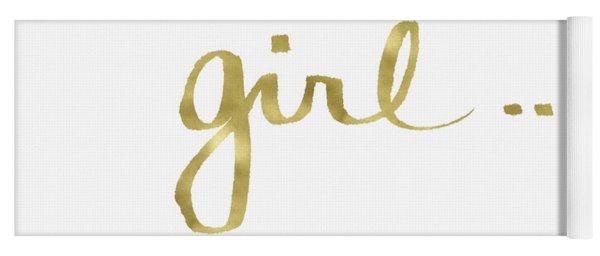 Girl Talk Gold- Art By Linda Woods Yoga Mat