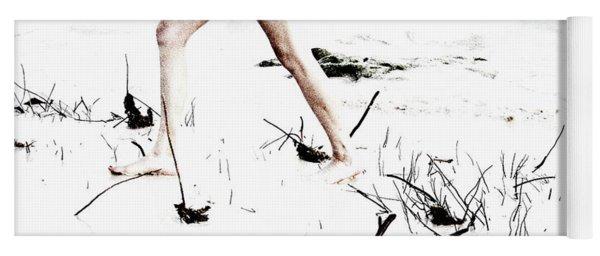 Girl Walking On Beach Yoga Mat