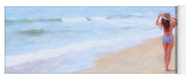 Girl Walking On Beach Watercolor Yoga Mat