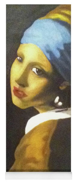 Yoga Mat featuring the painting Girl With Pearl Earring by Jayvon Thomas