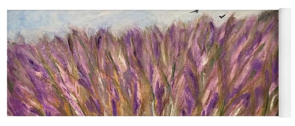Yoga Mat featuring the painting Gladiolus Field by Norma Duch