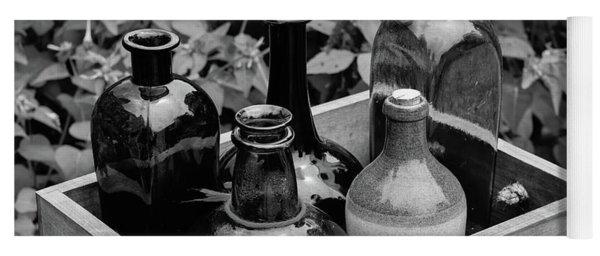 Glass Bottles In The Garden Yoga Mat