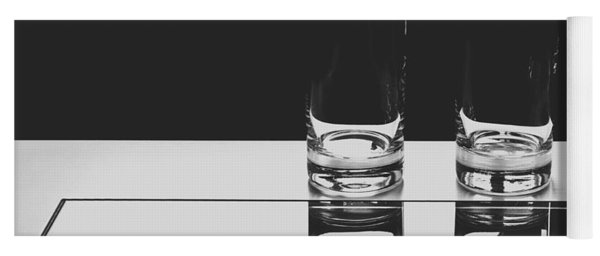 Glasses On A Table Bw Yoga Mat