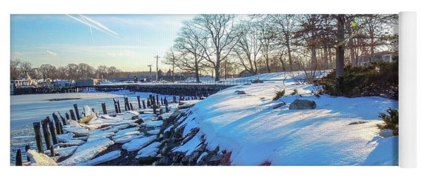 Glen Island Snowfall Yoga Mat
