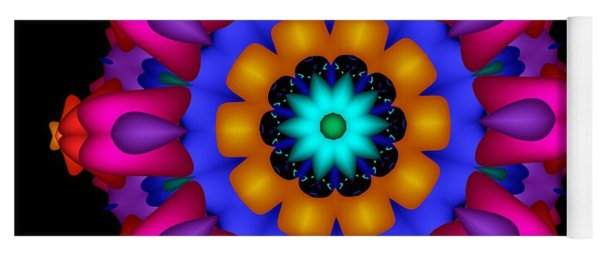 Glowing Fractal Flower Yoga Mat