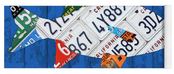 Go Fish Freshwater Bass Recycled Vintage License Plate Art Yoga Mat
