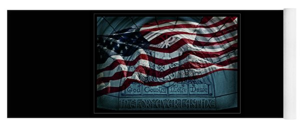 God Country Notre Dame American Flag Yoga Mat