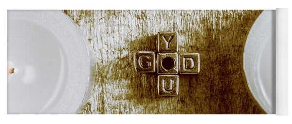 God Is You Metal Lettering Typography Near White Candles, Faith  Yoga Mat
