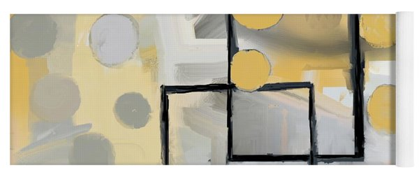 Yoga Mat featuring the mixed media Gold And Grey Abstract by Eduardo Tavares