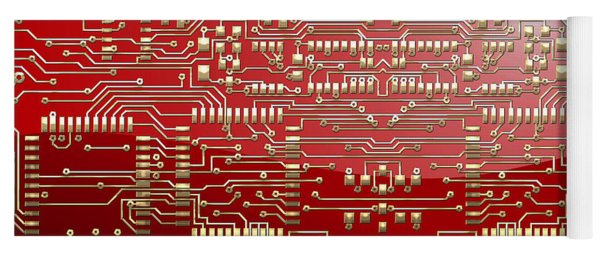 Gold Circuitry On Red Yoga Mat